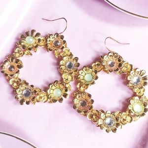 JEWELED STATEMENT DROP GOLD HOOPS